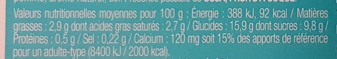 Gourmand & Végétal Délice Vanille - Informations nutritionnelles - fr
