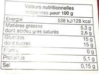 Mon Œuf au Lait Vanille Naturelle - Nutrition facts - fr
