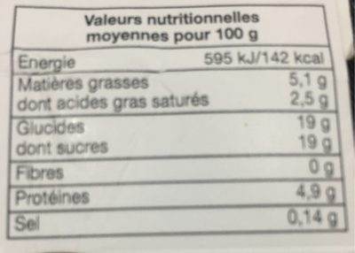 Oeufs au lait au caramel - Nutrition facts