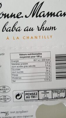 Baba au rhum - Valori nutrizionali - fr