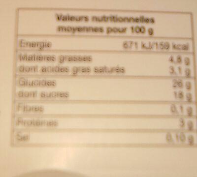 Mon riz au lait caramel - Nutrition facts - fr