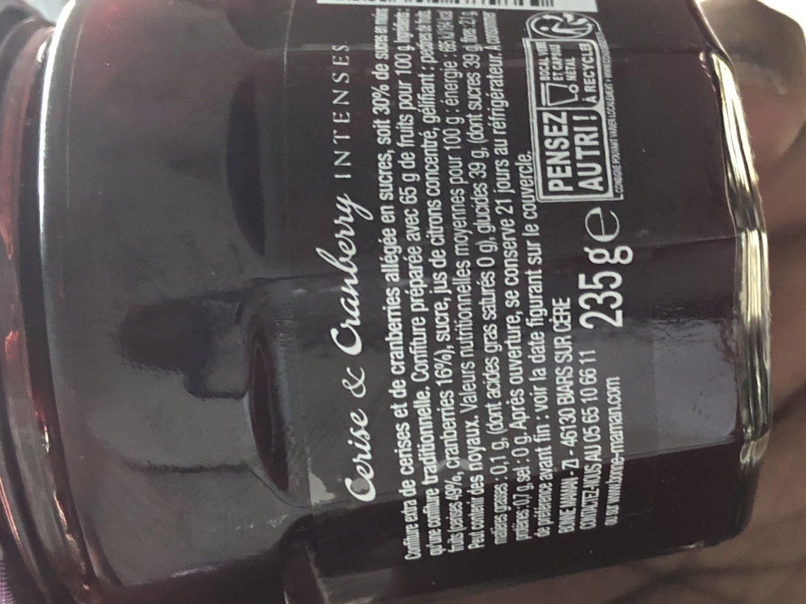 Bonne Maman Cerise & Cranberry - Ingredienti - fr
