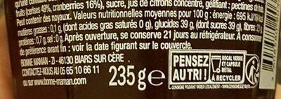 Bonne Maman Cerise & Cranberry - Informazioni nutrizionali - fr