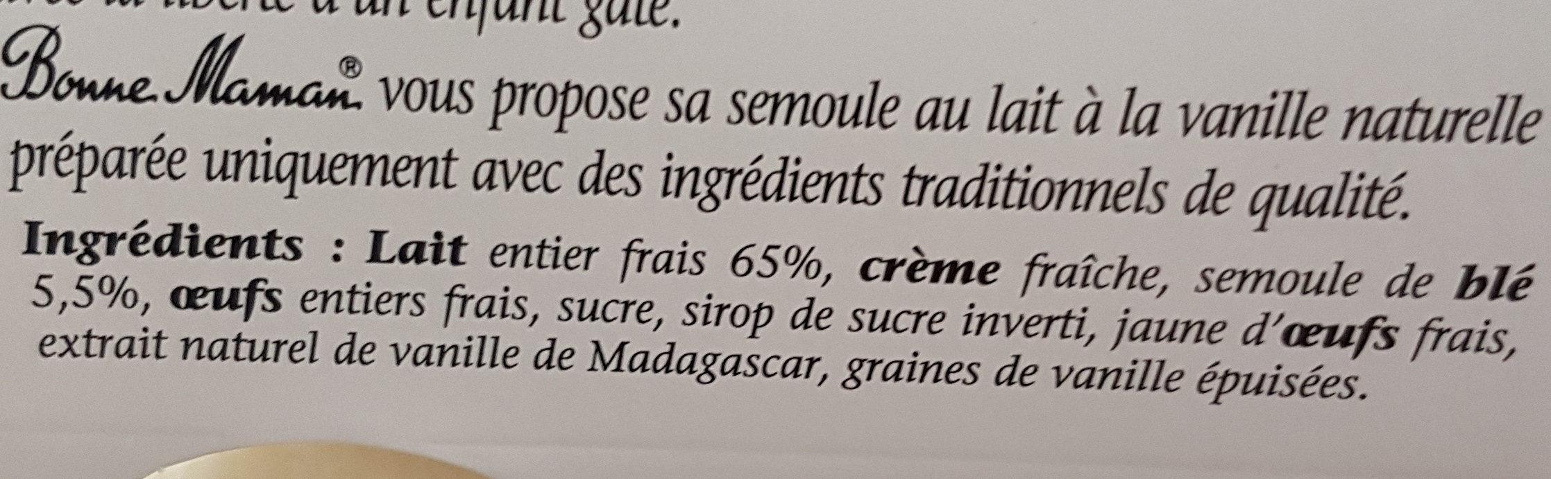 Semoule au Lait et à la Vanille Naturelle - Ingrédients - fr