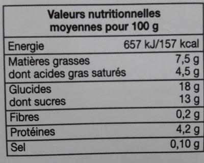 Semoule au Lait et à la Vanille Naturelle - Informations nutritionnelles - fr