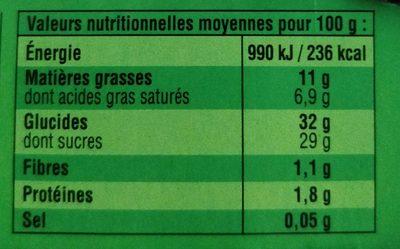 Sensation fondante Mousse châtaigne - Nutrition facts