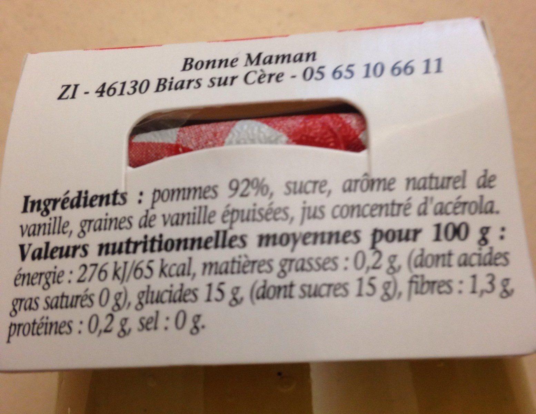 Compotée pommes à la vanille naturelle - Ingrédients - fr