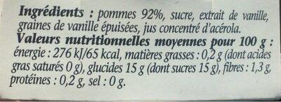 Compotée pommes à la vanille naturelle - Informations nutritionnelles - fr