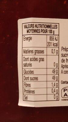 Confiture Fraises Mara des bois - Valori nutrizionali - fr
