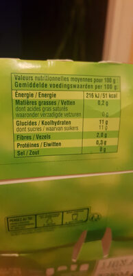 Pomme nature sans sucres ajoutés - Nutrition facts