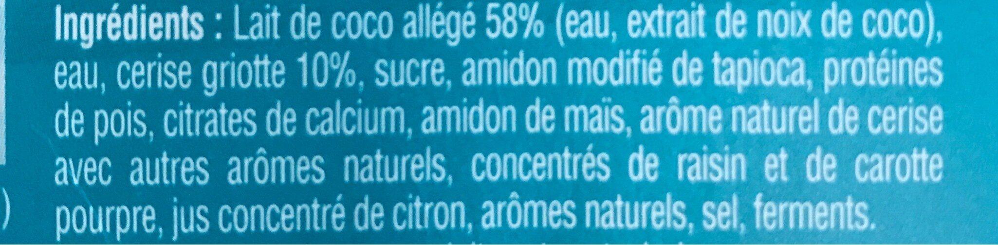 Gourmand & Végétal au lait de coco - Cerise Griotte - Ingrédients