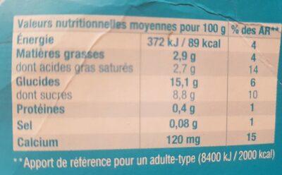Gourmand & Végétal au lait de coco - Cerise Griotte - Informations nutritionnelles