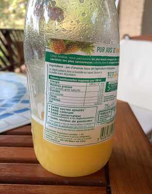 Pur jus d'ananas - Nutrition facts