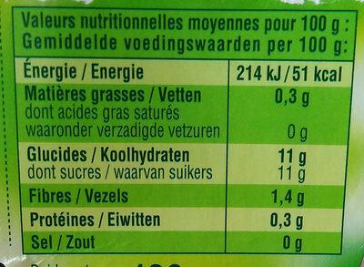 Andros sans sucre ajoutés pomme golden - Nutrition facts - fr