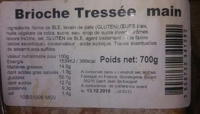 Brioche tressée à la main - Informations nutritionnelles