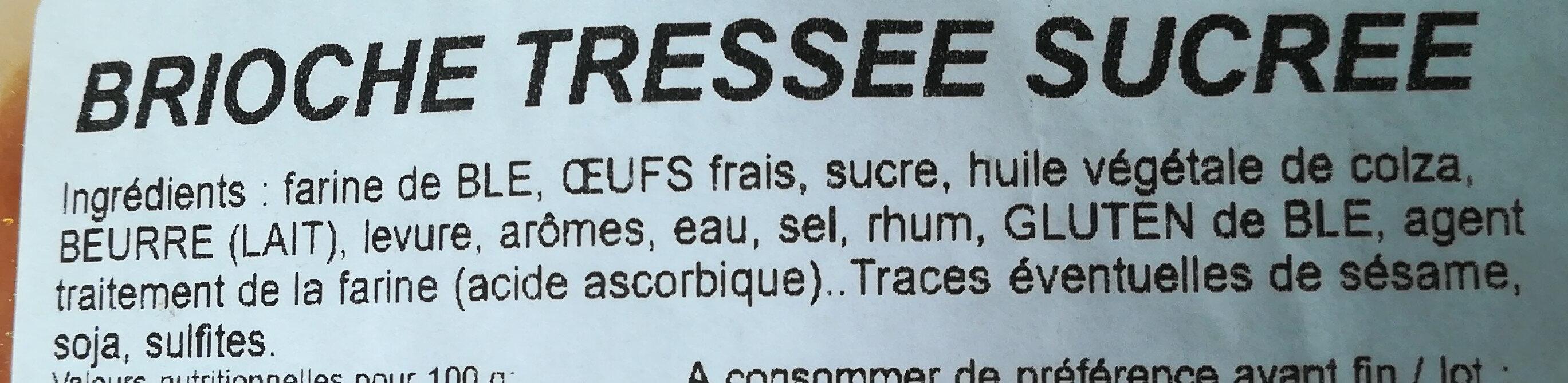 Brioche Tressée Sucrée - Ingredients