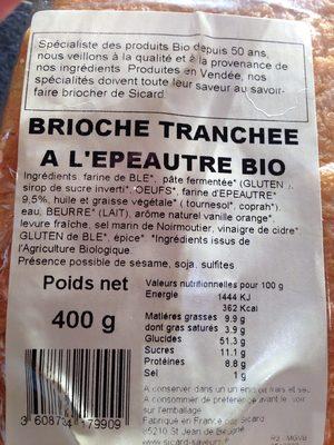 Brioche Tranchée à l'Épeautre Bio - Ingrédients