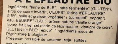 Brioche à l'épeautre tranchée - Ingredients