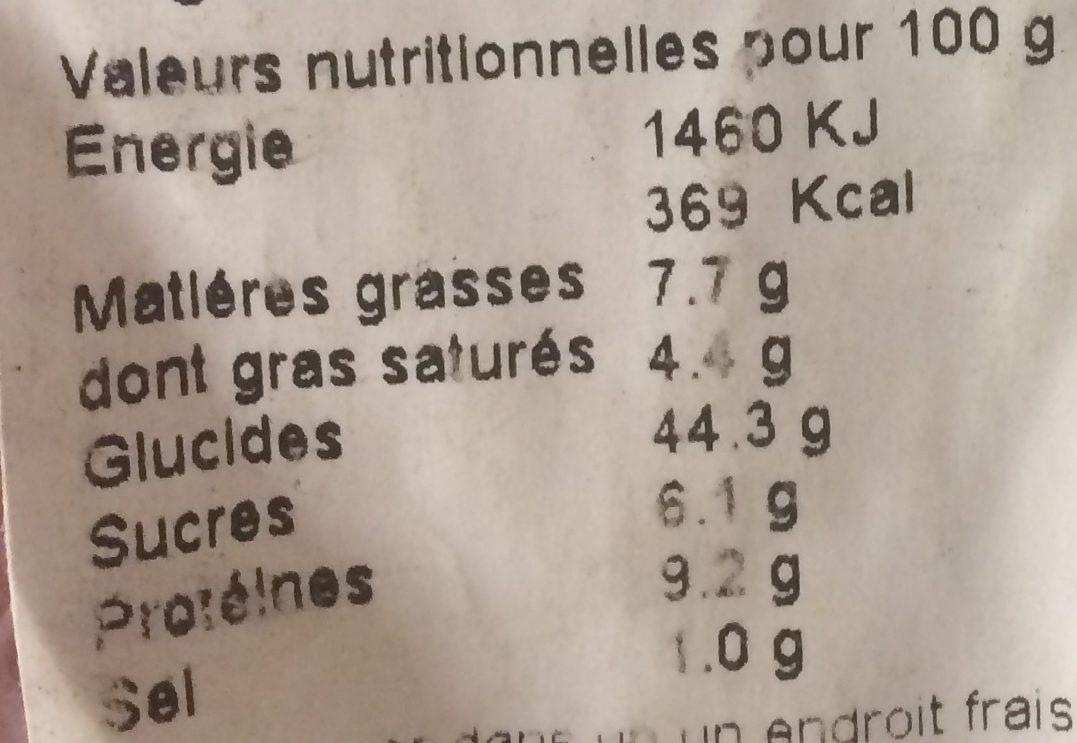 Brioche Tranchée Bio - Nutrition facts - fr