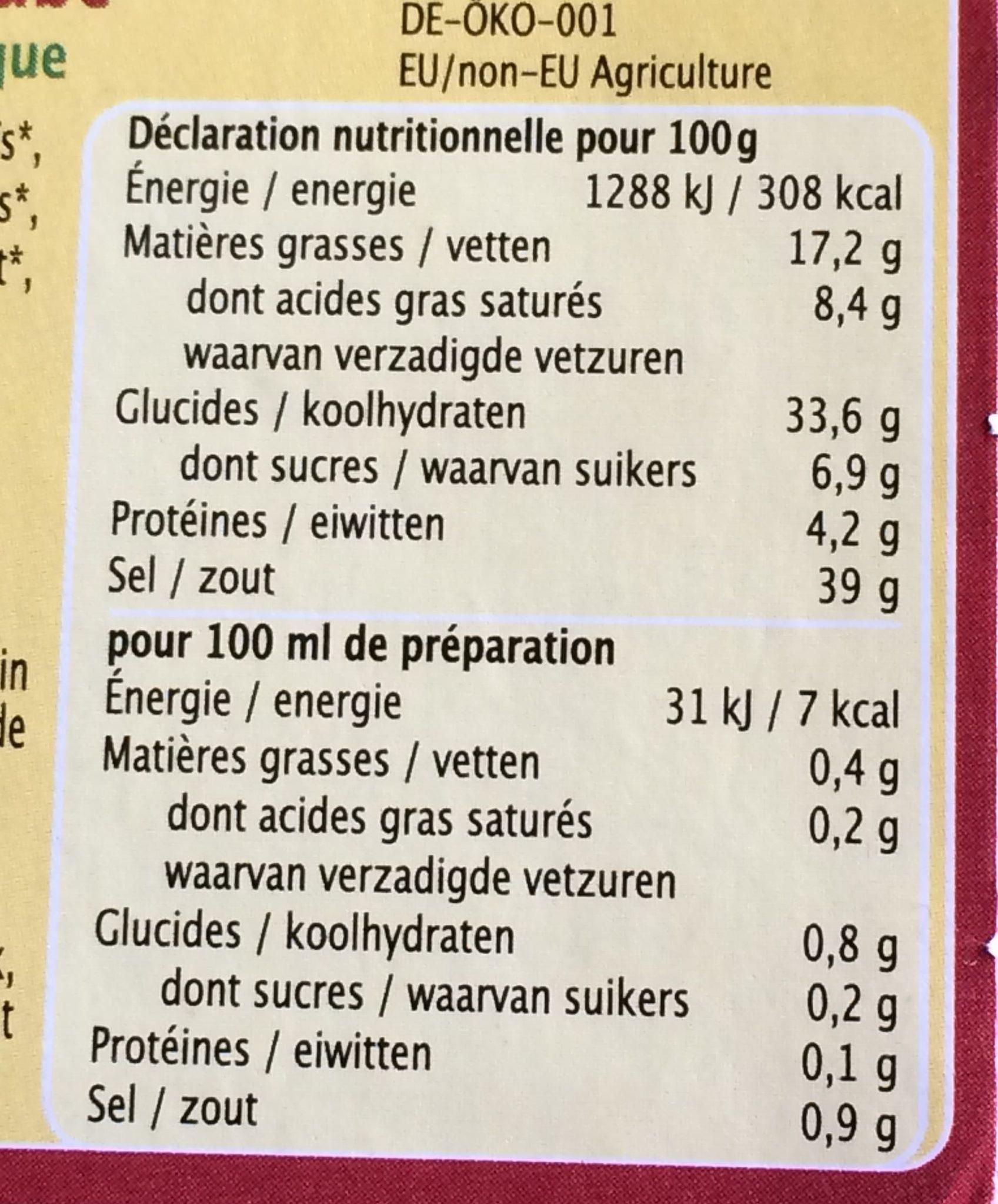 Bouillon de Bœuf - Nutrition facts