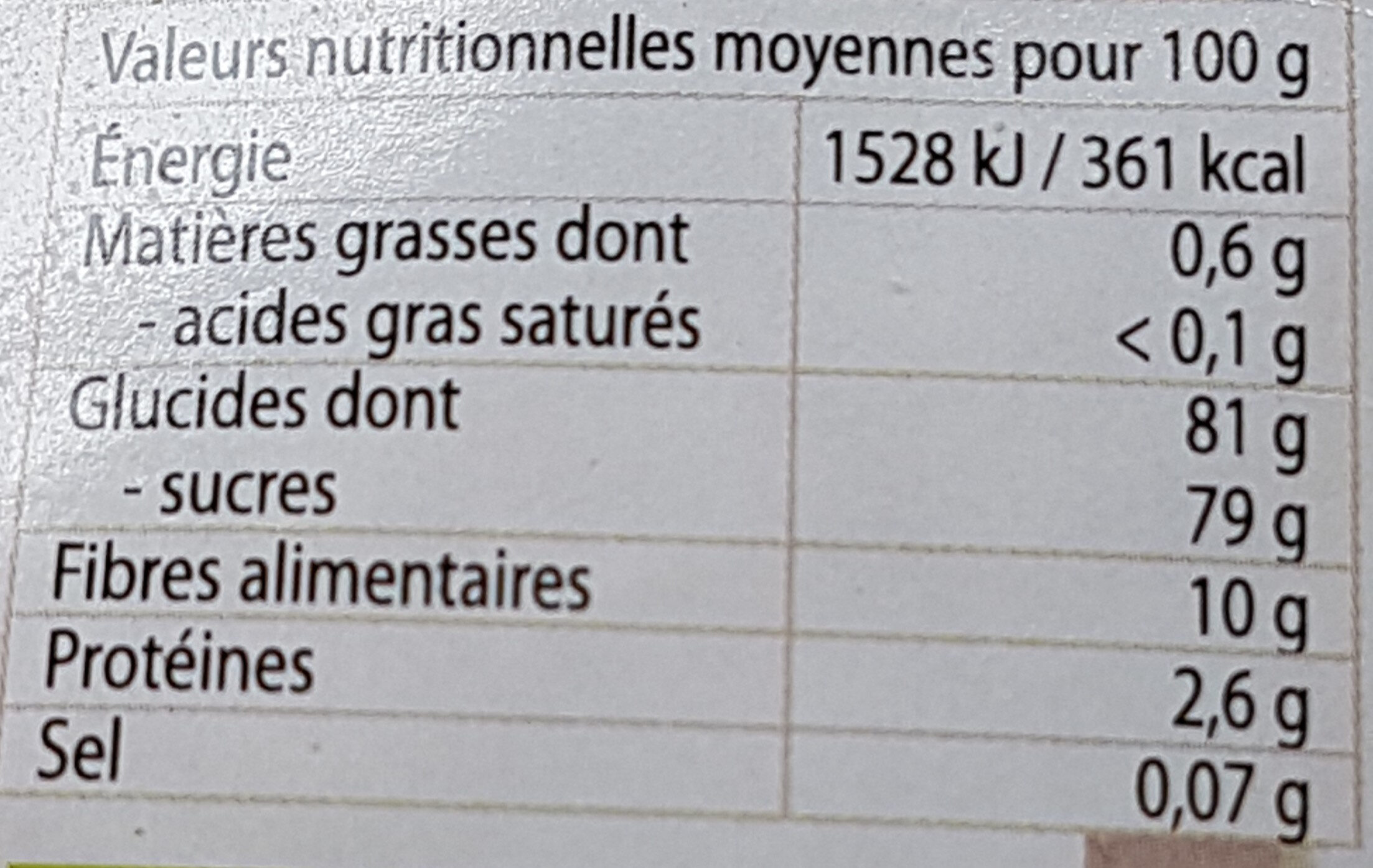 Douceur de dattes - Voedingswaarden