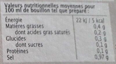 Bouillon de légumes en cubes - Valori nutrizionali - fr