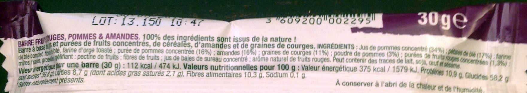 Barre Fruits rouges, pommes & amandes - Ingredients
