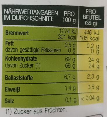 Fruit Sticks - Nutrition facts