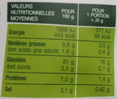 Rice Crackers Sel & Vinaigre - Nutrition facts