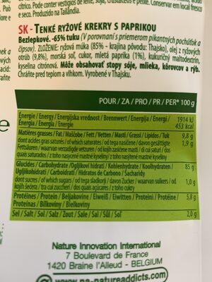 Rice Crackers - Paprika - Nährwertangaben - fr