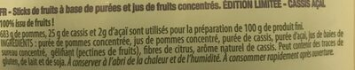 Fruit sticks Limited edition cassis açaï - Ingredients