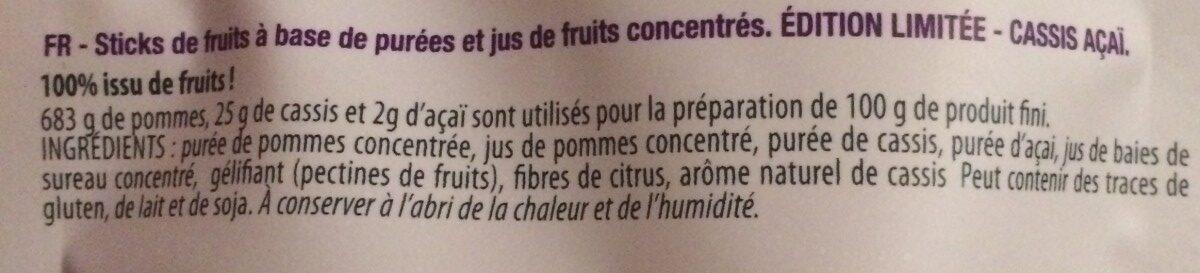 Fruit Sticks - Ingredients