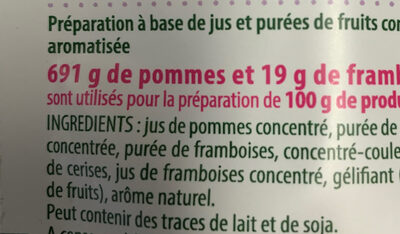 Ti'fruits moelleux framboise et pomme - Ingredients - fr