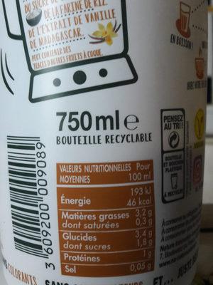 RDV Douceur noisette - Informations nutritionnelles