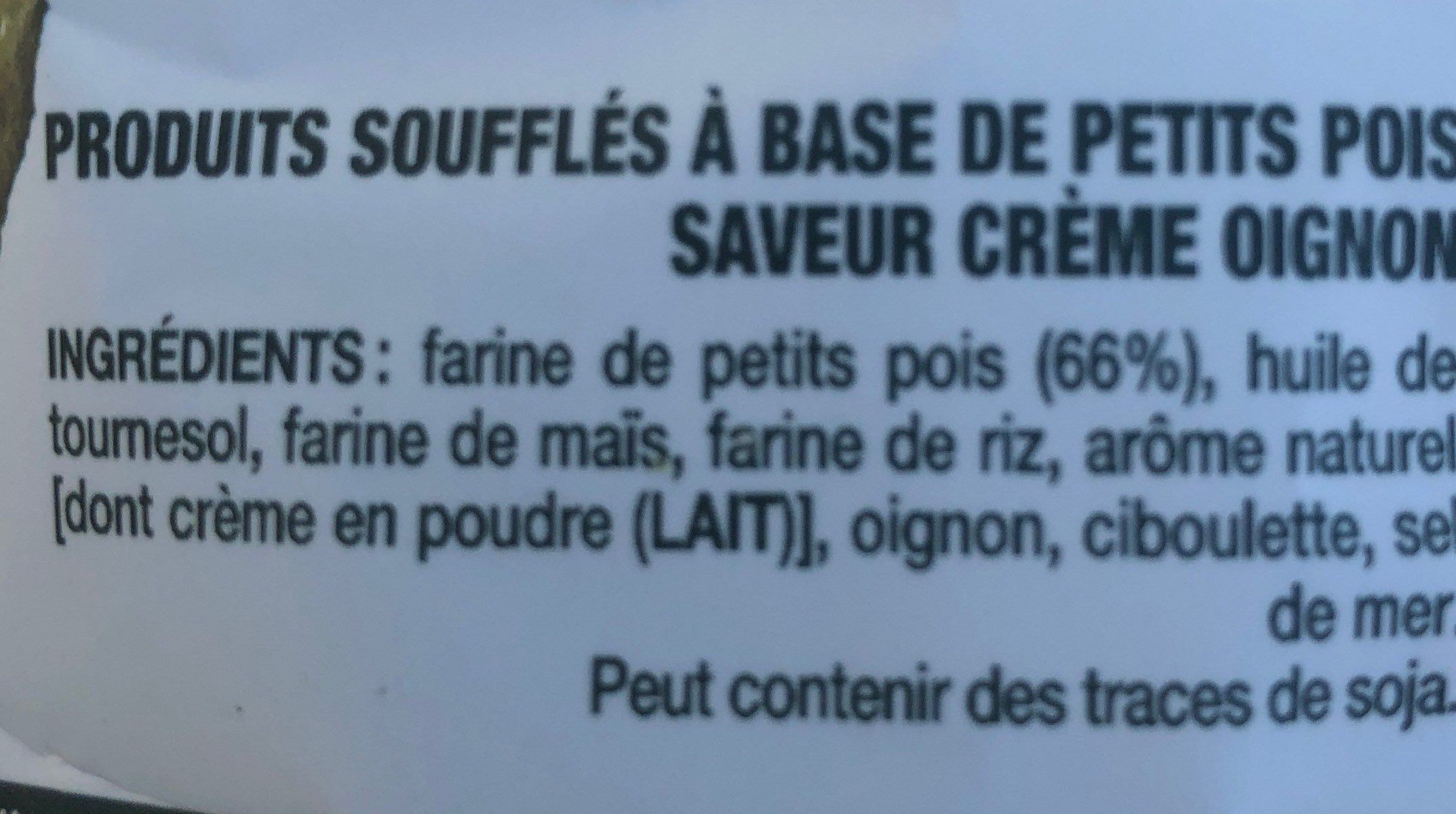 Cris'Peas - Ingredients - fr