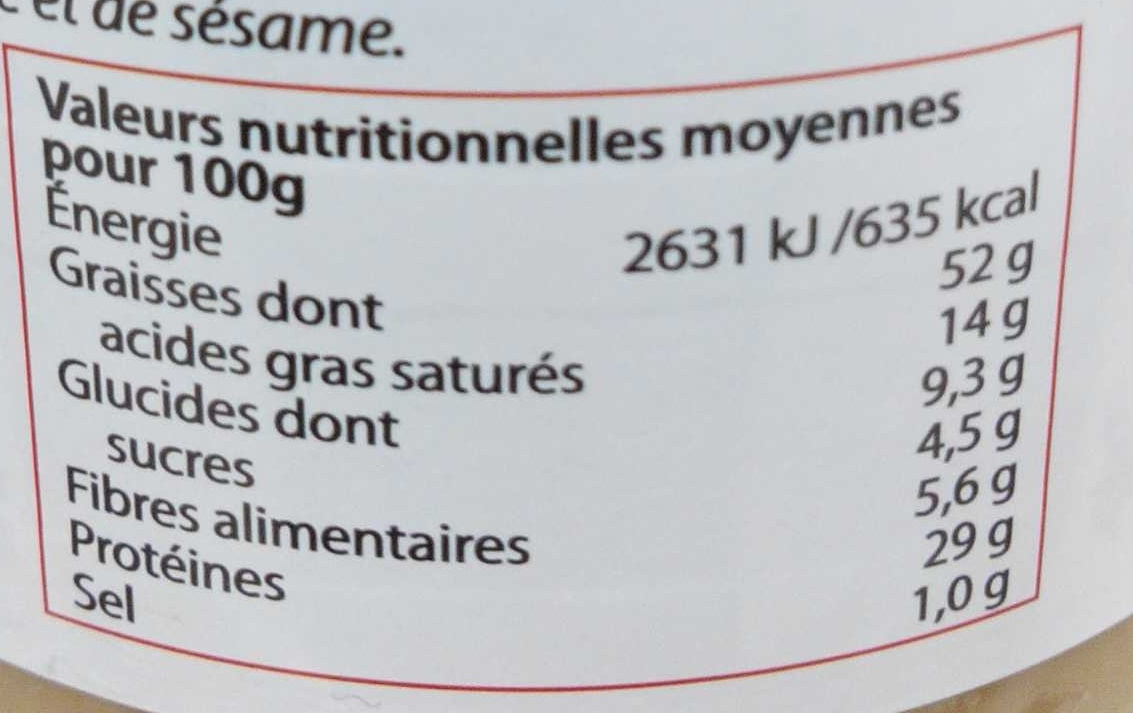 Beurre de cacahuète Crunchy - Nährwertangaben - fr