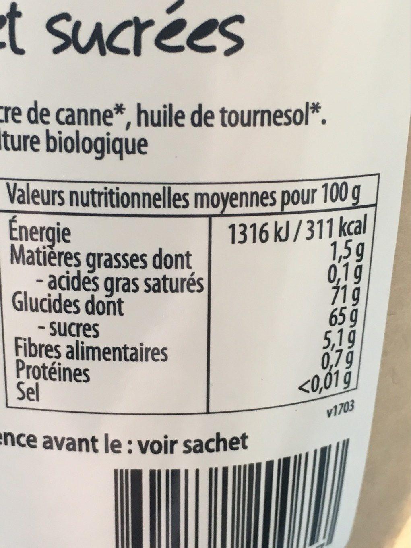 Cranberries séchées - Informations nutritionnelles - fr