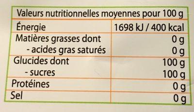 Sucre de canne blond - Nutrition facts