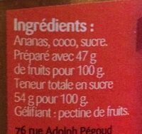 Confiture Ananas Coco - Ingredients