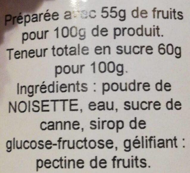 Crème de noisette - Ingredienti - fr