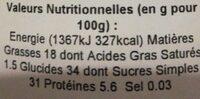 Crème de noisette - Valori nutrizionali - fr