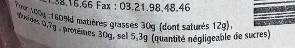 Les secs du Coin Saucisson au Maroilles - Voedingswaarden