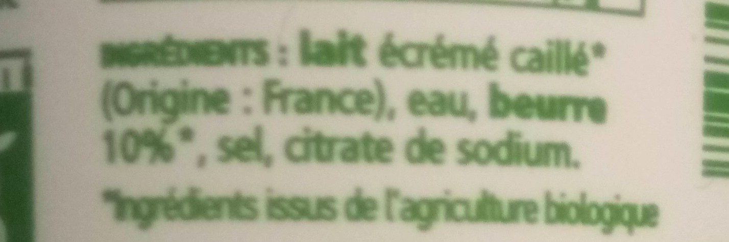 Cancoillotte nature Bio - Ingrédients - fr