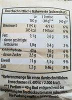 Pain au graines de tournesol - Nutrition facts - de