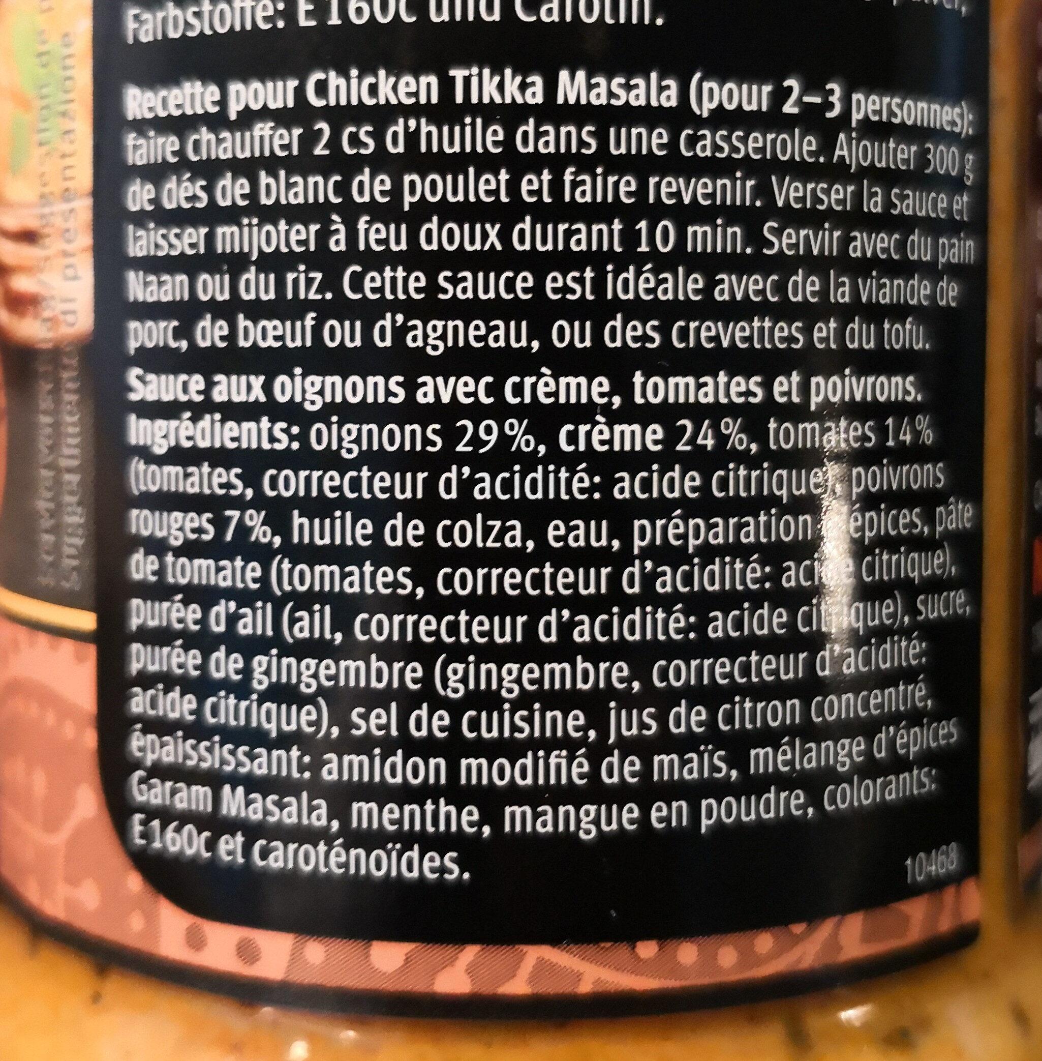 Tikka Marsala sauce - Ingredienti - fr