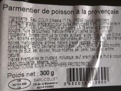 Parmentier de poisson à la Provençal - Ingrédients - fr