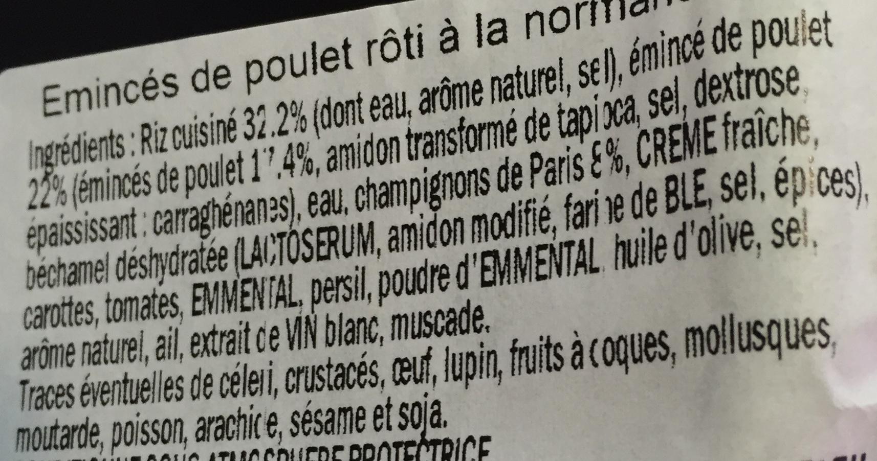 Émincé de poulet rôti à la Normande et riz - Ingrédients - fr