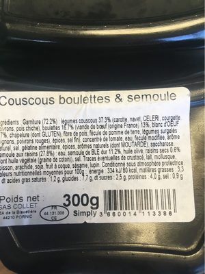 Couscous boulettes semoule - Informations nutritionnelles - fr