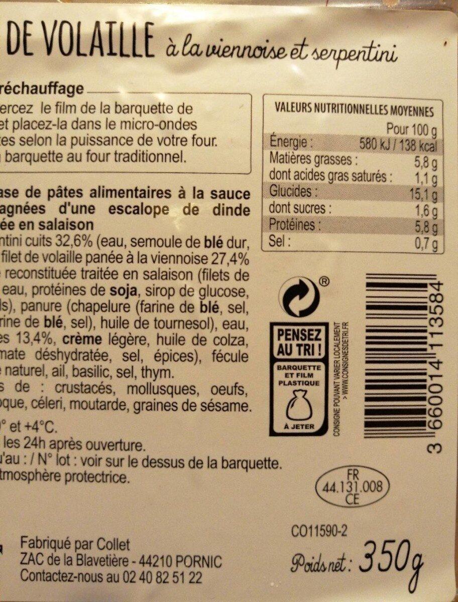 Filet de volaille à la viennoise et serpentini COLLET - Informations nutritionnelles - fr