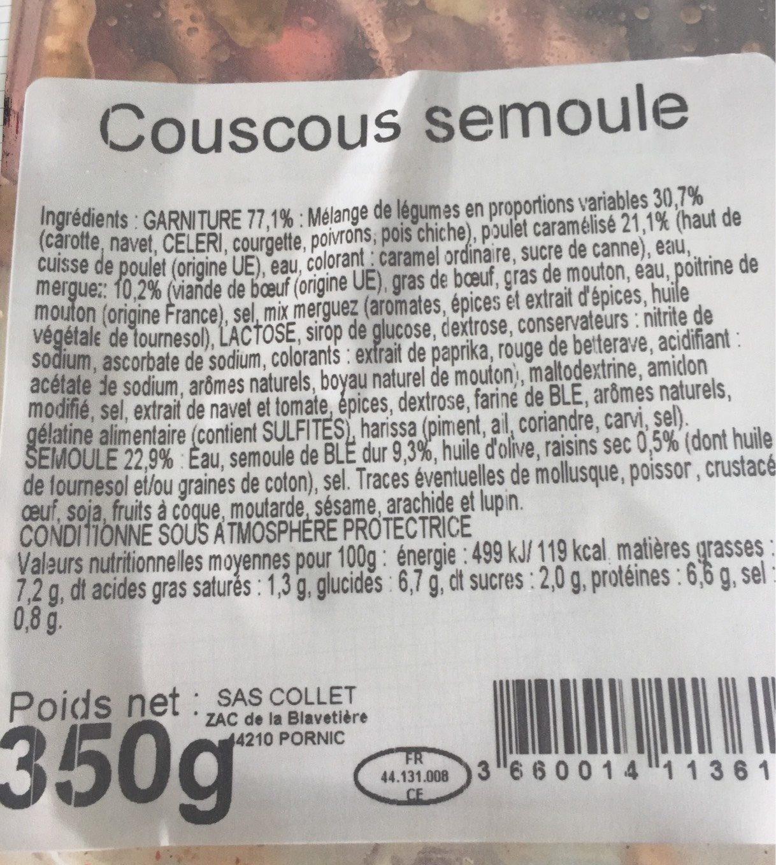 Couscous et semoule COLLET - Nutrition facts
